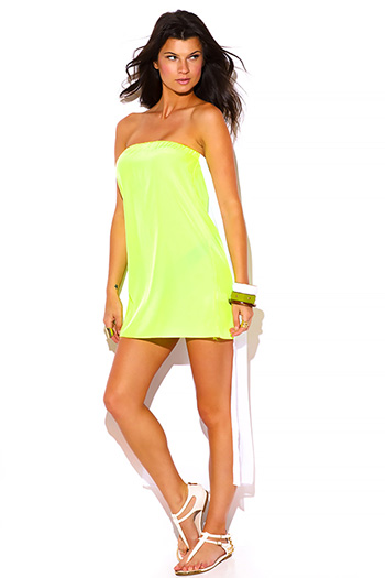 $5 - Cute cheap black bejeweled studded ruched ruffle fitted strapless sexy club mini dress - neon yellow green chiffon cape high low strapless mini sun dress