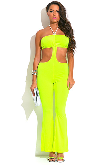 $7 - Cute cheap ruffle cape sexy party jumpsuit - neon yellow green rope halter cut out backless wide leg resort summer party jumpsuit