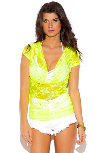 $5 - Cute cheap black sheer mesh metallic graphic screen print short sleeve beach cover up tunic top - neon yellow see through lace cowl neck beach cover up tunic top