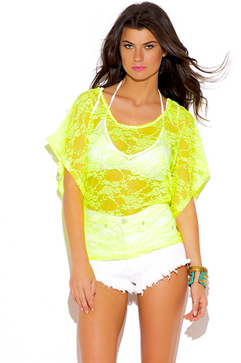 $7 - Cute cheap black sheer mesh metallic graphic screen print short sleeve beach cover up tunic top - neon yellow see through lace off shoulder beach cover up tunic top