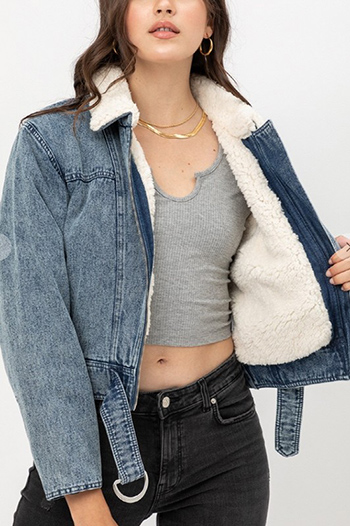 $37.50 - Cute cheap denim skinny jeans - non stretch shearling collar denim jacket 100% cotton