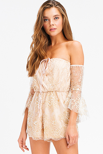 $15 - Cute cheap blue mesh fitted jumpsuit - nude beige gold glitter mesh metallic off shoulder bell sleeve party sexy club boho romper playsuit jumpsuit