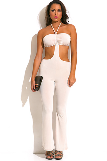$7 - Cute cheap mesh backless fitted sexy club jumpsuit - nude beige rope halter cut out backless wide leg summer party jumpsuit