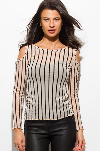 $10 - Cute cheap white sheer crochet top - nude black sheer stripe mesh cold shoulder cut out long sleeve sexy clubbing party top