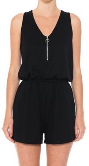 $11.50 - Cute cheap o rong zip v neck french terry romper