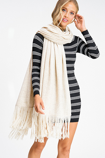$20 - Cute cheap Oatmeal ivory beige sweater knit fringe hem boho shawl scarf