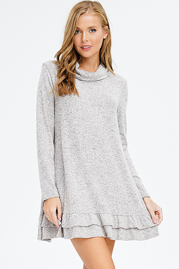 $15 - Cute cheap backless crochet dress - oatmeal khaki grey fuzzy sweater knit cowl neck long sleeve ruffle hem boho mini dress