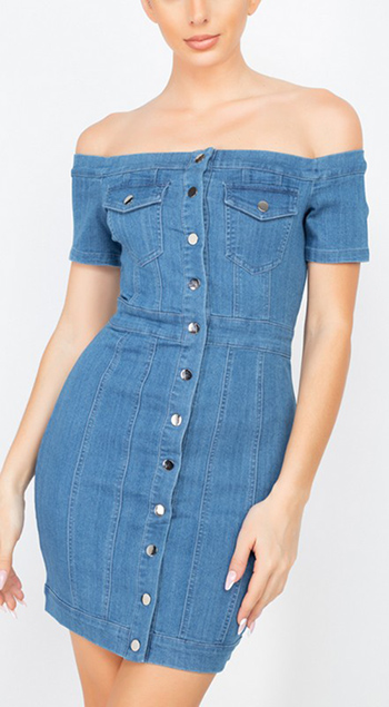 $25.75 - Cute cheap shirring strapless rayon spandex knit mini dress - off-shoulder mock button denim dress