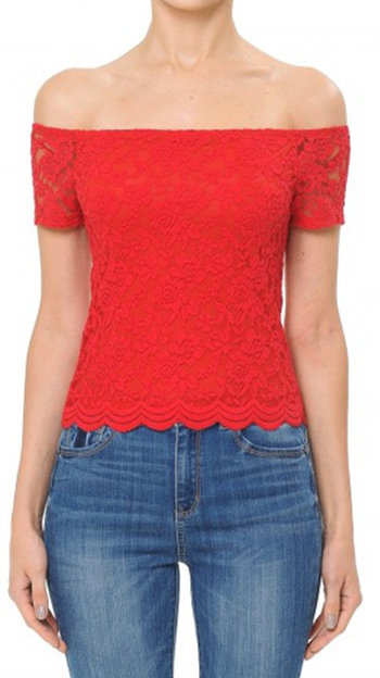$7.5 - Cute cheap off shoulder short sleeve top