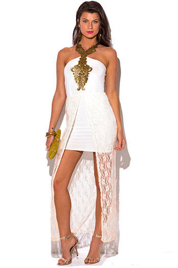 $10 - Cute cheap crepe wrap evening dress - off white gold lace high low slit fitted formal evening sexy party cocktail dress