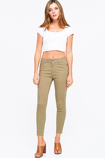 $20 - Cute cheap denim bejeweled fitted jeans - Olive cargo green mid rise double side seam fitted skinny pants