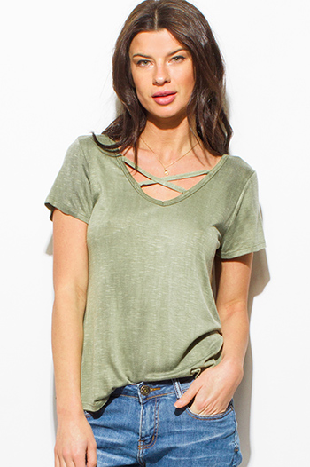 $15 - Cute cheap dark olive green stretch ribbed knit bandage bodycon fitted sexy club mini skirt - olive green acid washed caged cut out short sleeve boho tee shirt top