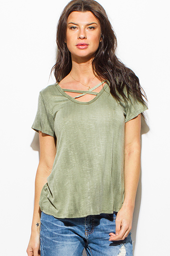 $15 - Cute cheap dark navy blue floral print tie neck quarter sleeve boho blouse top - olive green acid washed caged cut out short sleeve boho tee shirt top