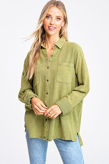 $15 - Cute cheap dark blue washed denim button up pocketed frayed hem crop jean jacket - Olive green acid washed cotton long sleeve button up oversized boho blouse top