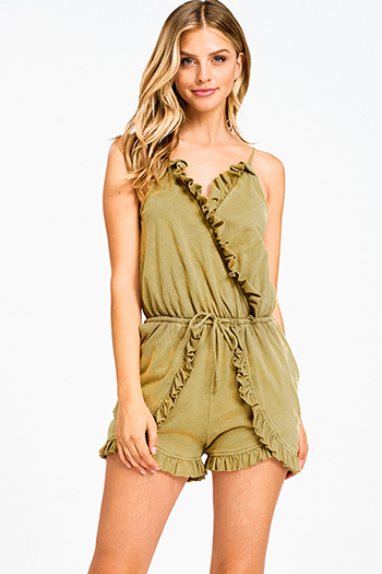 $10 - Cute cheap floral boho kimono romper - Olive green acid washed sleeveless ruffled surplice boho pocketed romper playsuit