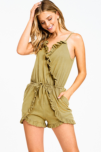 $15 - Cute cheap blue washed denim low rise pearl studded distressed frayed chewed hem boho skinny jeans - Olive green acid washed sleeveless ruffled surplice boho pocketed romper playsuit