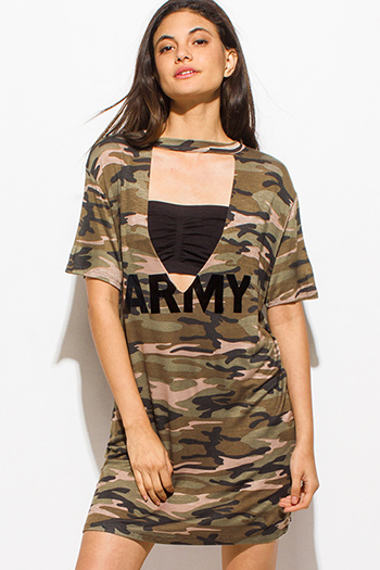 $7 - Cute cheap satin shift dress - olive green army camo print choker cut out short sleeve tee shirt mini dress