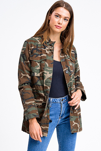 $30 - Cute cheap print kimono jumpsuit - Olive green army camo print long sleeve pocketed quilted button up anorak jacket