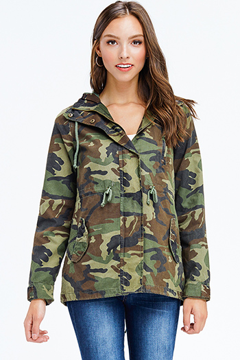 $22 - Cute cheap navy blue sheer floral print zip up boho bomber jacket - olive green army camo print long sleeve zip up drawstring waist hooded anorak jacket