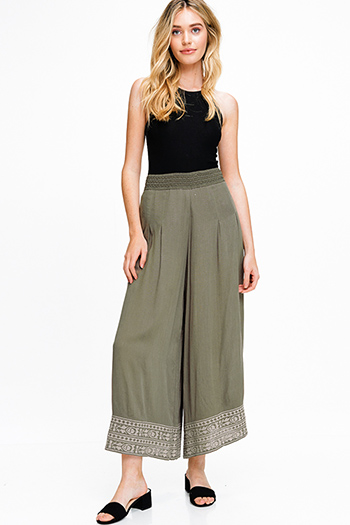 $15 - Cute cheap olive cargo green mid rise double side seam fitted skinny pants - Olive green banded high waisted wide leg embroidered hem boho resort palazzo pants