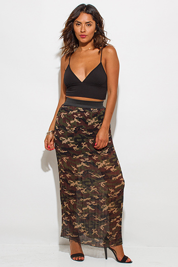 $10 - Cute cheap print skirt - olive green brown chiffon camo print pleated maxi skirt