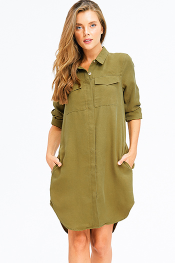 $20 - Cute cheap floral caged mini dress - olive green button up long sleeve pocketed boho shirt dress