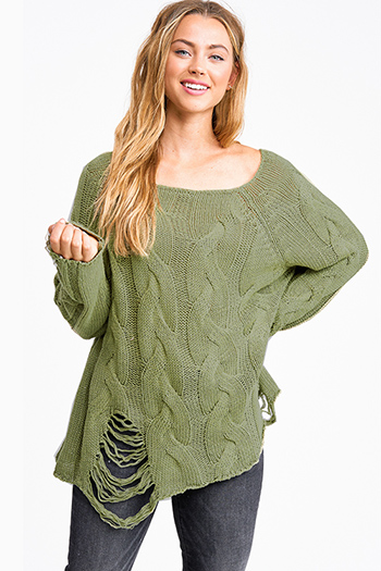 $30 - Cute cheap clothes - Olive green cable knit long sleeve destroyed distressed fringe boho sweater top