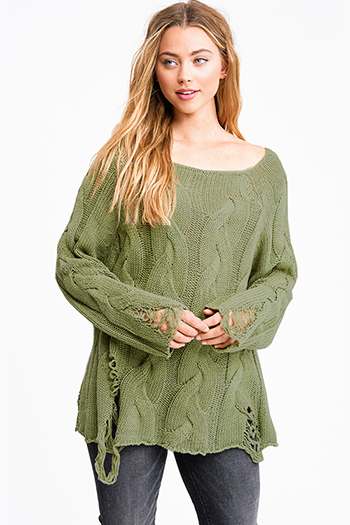 $30 - Cute cheap taupe beige long sleeve oversized hooded boho textured slub sweater top - Olive green cable knit long sleeve destroyed distressed fringe boho sweater top