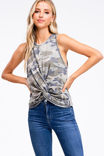 $13 - Cute cheap gray acid washed denim print sleeveless button up tie waisted slit maxi sun dress - Olive green camo print sleeveless round neck twist knot front boho sexy party tank top