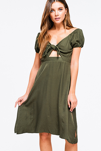 $10 - Cute cheap light pink satin floral off shoulder ruffle tiered boho mini sun dress - Olive green cap sleeve cut out tie front shirred back side slit a line boho midi sun dress
