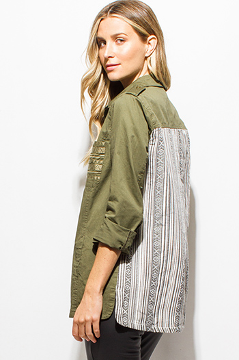$15 - Cute cheap olive green cargo ethnic embroidered color block long sleeve button up blouse top
