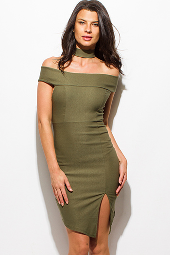 $15 - Cute cheap ribbed fitted sexy club sweater - olive green choker cut out mock neck off shoulder front slit pencil fitted bodycon mini club dress