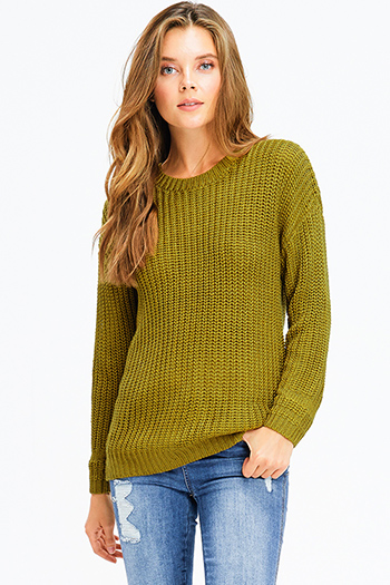 $20 - Cute cheap sage green v neck long sleeve laceup crochet oversized sweater knit tunic top - olive green chunky knit long sleeve round neck sweater top