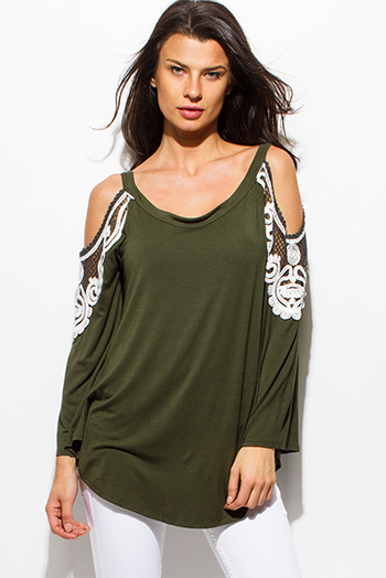 $15 - Cute cheap fringe tunic - olive green cold shoulder cut out long sleeve lace applique boho tunic top