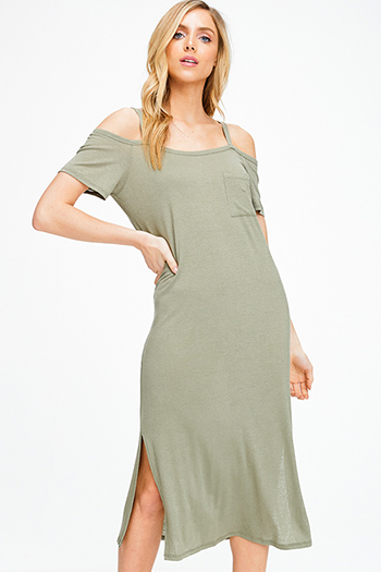 $15 - Cute cheap print backless sun dress - Olive green linen cold shoulder short sleeve slit side boho maxi tee shirt sun dress
