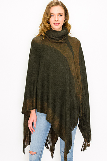 $35 - Cute cheap black v neck gathered knot front boho sleeveless top - Olive green color block metallic lurex fringe trim cowl neck sweater knit boho poncho tunic top