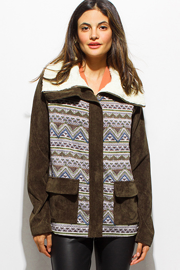 $25 - Cute cheap print slit boho tunic - olive green corduroy ethnic print faux fur lined pocketed zip up boho coat jacket