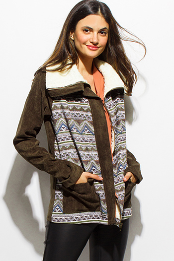 $25 - Cute cheap career wear - olive green corduroy ethnic print faux fur lined pocketed zip up boho coat jacket