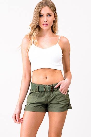 $15 - Cute cheap black cotton blend elastic waisted running lounge shorts - Olive green cotton belted pocketed cuffed hem military cargo shorts