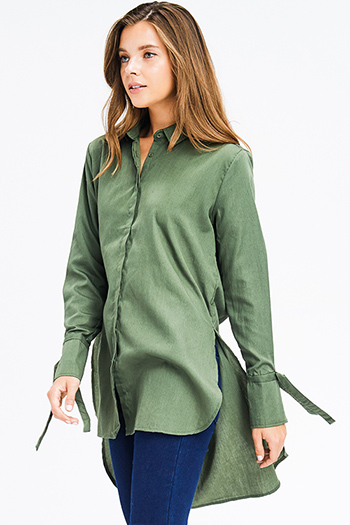 $18 - Cute cheap ruffle blouse - olive green cotton blend long tie sleeve high low button up tunic blouse shirt dress