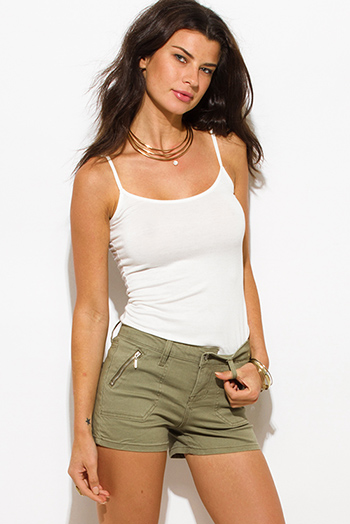 $15 - Cute cheap white denim floral embroidered mid rise cutoff boho jean shorts - olive green cotton military zipper pocket mid rise shorts