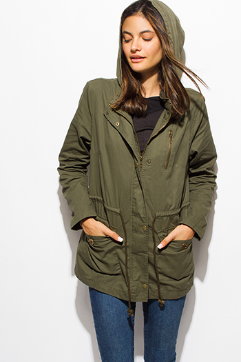 $30 - Cute cheap jacket - olive green cotton utility cargo hooded pocketed anorak trench coat jacket