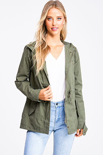 $25 - Cute cheap navy blue sheer floral print zip up boho bomber jacket - Olive green cotton zip up drawstring waist hooded pocketed cargo anorak jacket