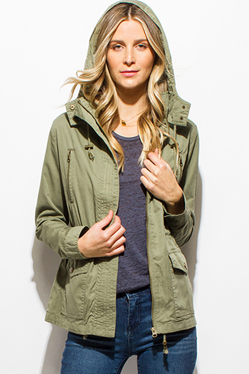 $20 - Cute cheap clothes - olive green cotton zip up drawstring waist hooded pocketed utility cargo anorak jacket