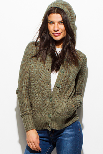 $15 - Cute cheap career wear - olive green crochet sweater knit long sleeve hooded pocketed cardigan jacket top