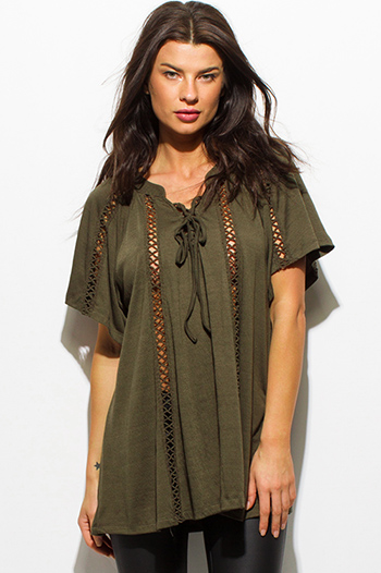 $15 - Cute cheap black ethnic print halter crochet lace trim boho crop tank top - olive green crochet trim short sleeve boho tunic top
