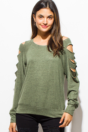 $15 - Cute cheap clothes - olive green cut out long sleeve sweatshirt top