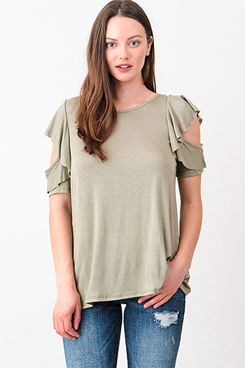 $15 - Cute cheap green pants - Olive green cut out ruffled sleeve round neck boho top