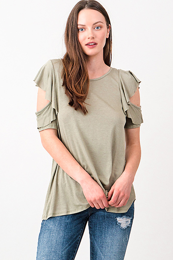 $15 - Cute cheap khaki tan off shoulder wide short sleeve crochet applique criss cross boho blouse top - Olive green cut out ruffled sleeve round neck boho top