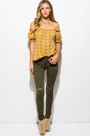 $13 - Cute cheap blue washed denim mid rise distressed ripped knee frayed hem fitted ankle skinny jeans - olive green denim mid rise distressed ripped knee skinny jeans